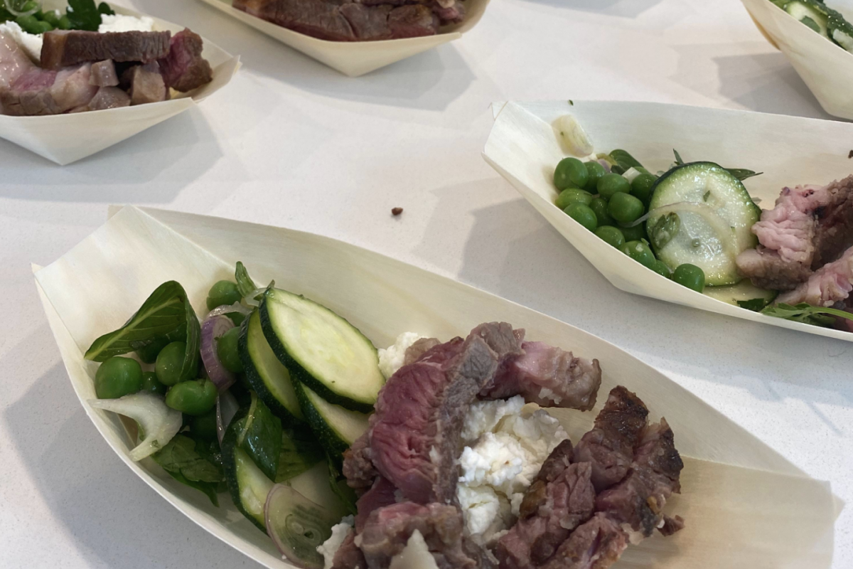 Paul West Masterclass – Roasted Lamb Rumps with Peas and Goats Cheese